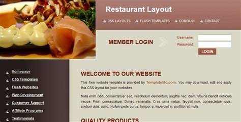 css layout restaurant free and premium restaurants cafes website templates
