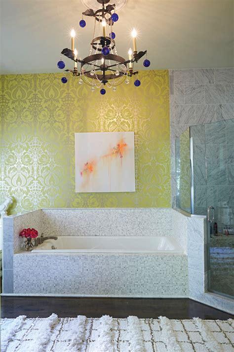 wallpaper over bathroom tiles bathrooms damask design ideas