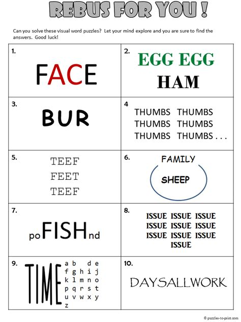 printable puzzle worksheets for adults free printable rebus worksheet from puzzles to print