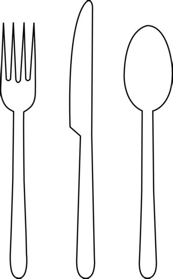 Colorable Tableware Free Clip Art Fork Template Printable