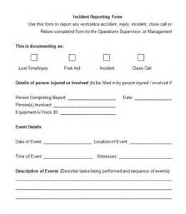 incident forms templates incident report