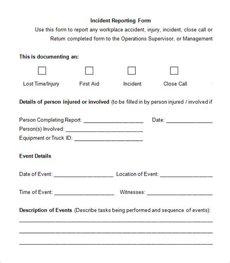 Environmental Incident Report Form Template Incident Report Form Template