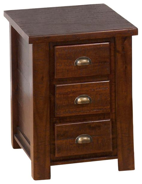 chairside end table with drawers jofran 731 8 urban lodge chairside table with 3 drawers in