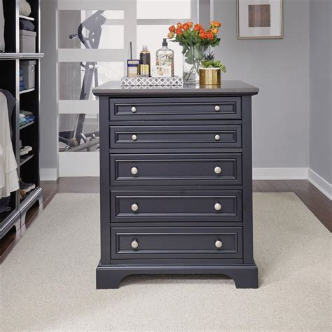 Closet Island Furniture by Home Styles Bedford 5 Drawer Black Closet Island 5531 91 The Home Depot