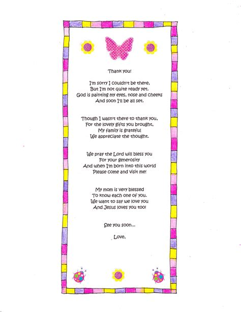 Thank You For Baby Shower Gift Poem by A Baby Shower Thank You Poem Happy Home