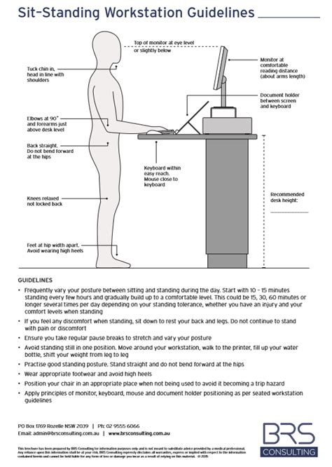 design criteria based on fracture sit standing workstation guidelines sydney