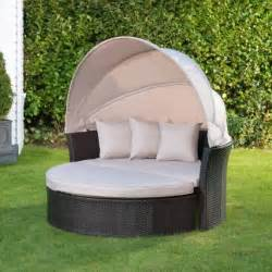 venice rattan hooded day bed garden furniture bm