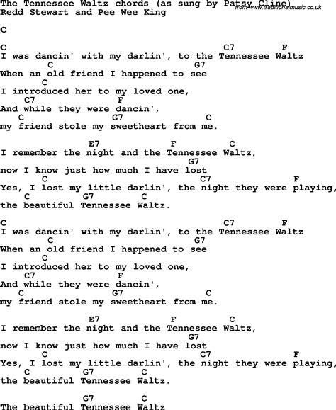 waltz lyrics song lyrics with guitar chords for the tennessee waltz
