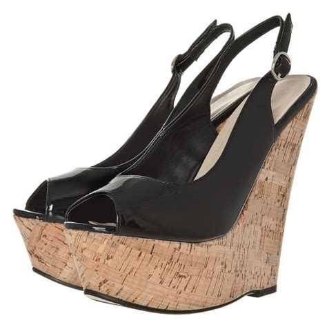 high heel wedge open toe sling back shoe miss from