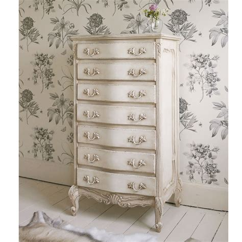 delphine shabby chic antique white tallboy french