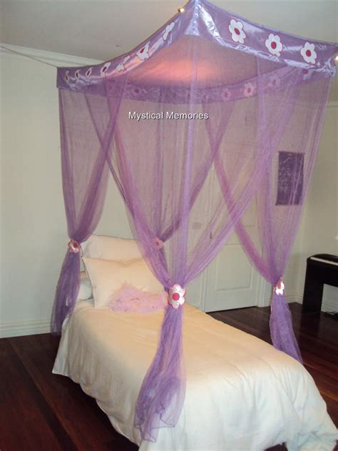 Purple Bed Canopy Purple Flower Princess Mosquito Net 4 Poster Bed Canopy Single Bed Gorgeous