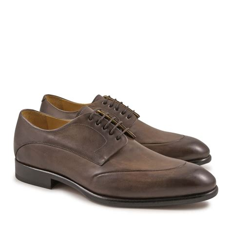 Handcrafted Footwear - handmade derby shoes for in taupe leather italian