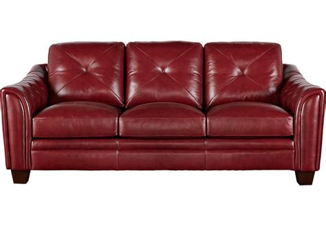 leather sofa red cindy crawford home marcella red leather sofa leather