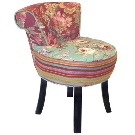 multi coloured chairs roses shabby chic stool fan back chair with wood legs