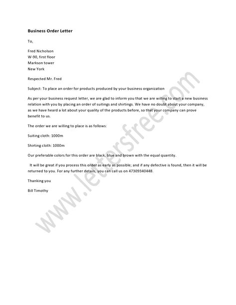 order business letterhead a business order letter is written to make a business