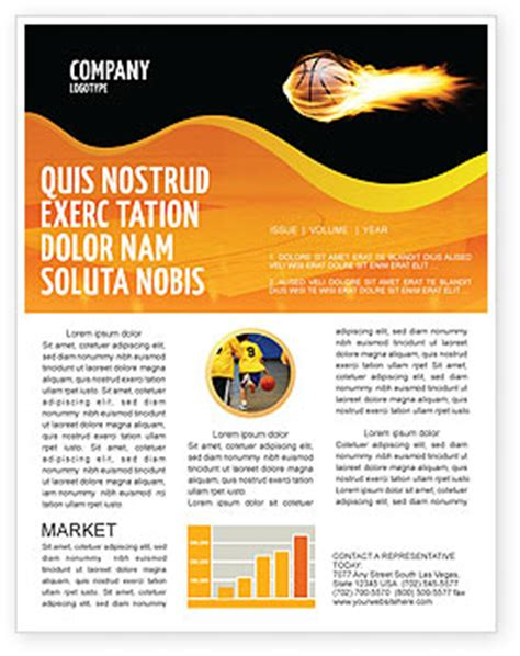 flaming basketball newsletter template for microsoft word