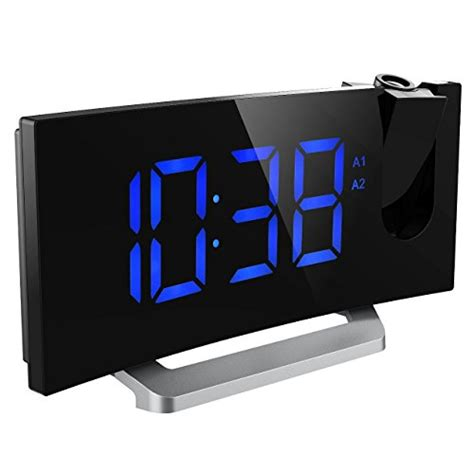 mpow projection clock fm radio alarm clock curved screen