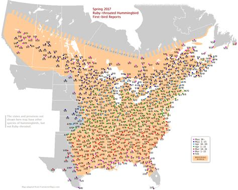 ruby throated hummingbird migration map 2016