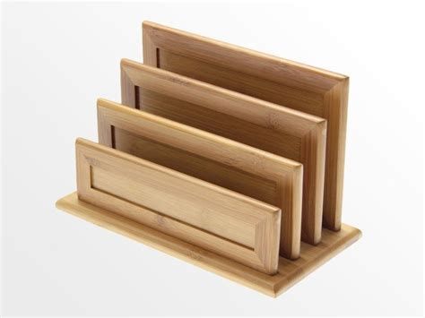 Kitchen Knives Holder 3 Slot Letter Rack Bamboo Document Holder Office Supplies