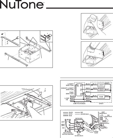 bathroom exhaust fan installation instructions nutone exhaust fan light wiring diagram nutone 763rln