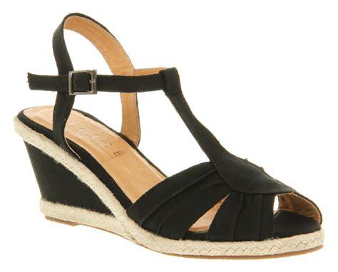 womens office wukkas wedge black canvas heels shoes ebay