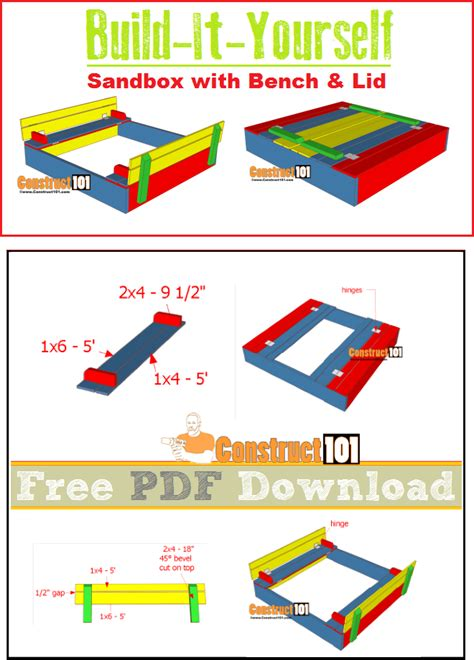sandbox with bench lid sandbox plans with bench lid pdf download construct101