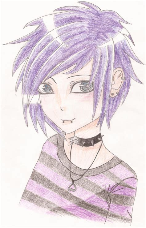 emo anime hairstyles emo guy with purple hair by kimt331 on deviantart
