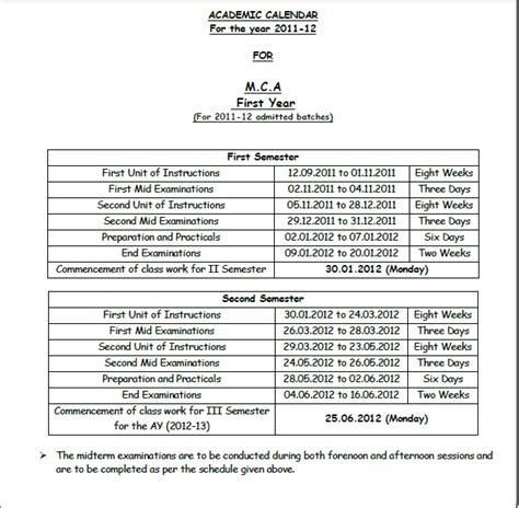 Academic Year Mba Meaning by Jntu Anantapur Mba Mca Academic Calendars For The