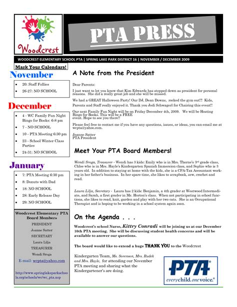 pto newsletter templates free pta newsletter template pto agenda template forms
