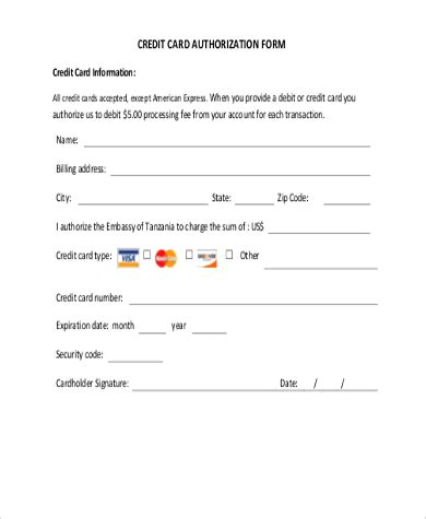 free credit card payment authorization form template credit card authorization form sles 10 free
