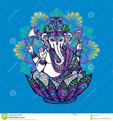 doodle god druid ganesha with ornate mandala stock vector illustration