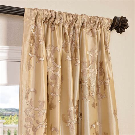 faux silk embroidered curtains buy ankara chagne embroidered faux silk curtain