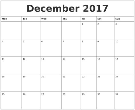 printable monthly calendar starting monday december 2017 free printable monthly calendar