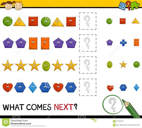 pattern games for toddlers preschool pattern game with shapes stock vector