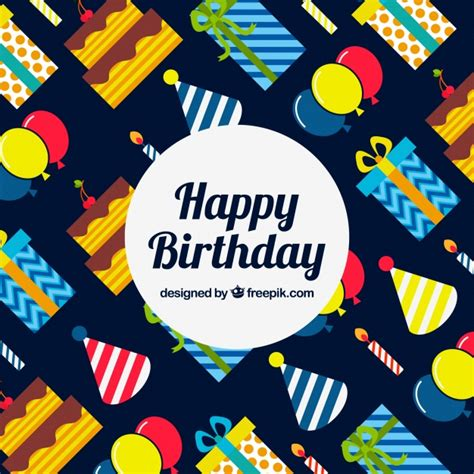 happy birthday design elements happy birthday background with colorful elements in flat