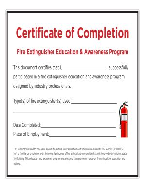 extinguisher certificate template fillable certificate of completion