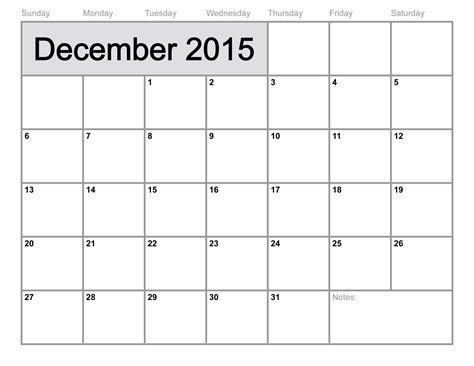 Printable Calendars December 2015 Calendar Printable Monthly Blank Calendar