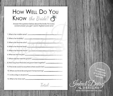 bridal shower trivia questions template instant how well do you the quiz bridal