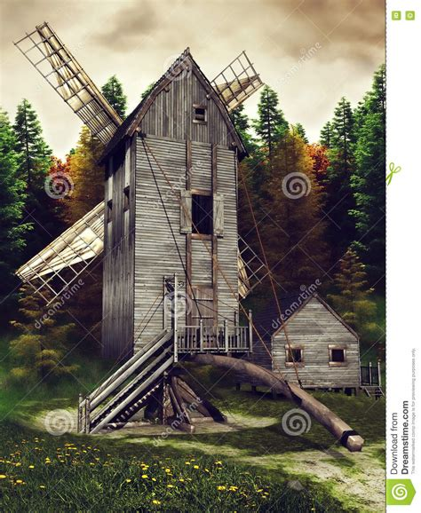 Windmill Sheds by Windmill And Shed Stock Illustration Image Of