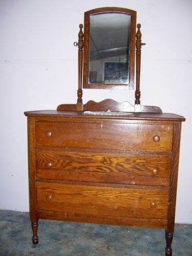 antique 1800 s original 3 drawer oak dresser with tilt mirror