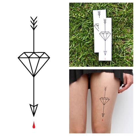 diamond arrow temporary tattoo set of 2