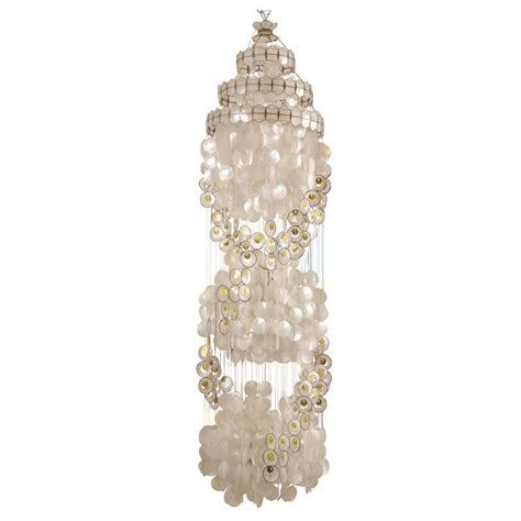 Capiz Shell Chandelier Lighting Vintage Capiz Shell Chandelier With Gold Accents At 1stdibs