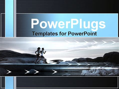 two people running powerpoint template background of