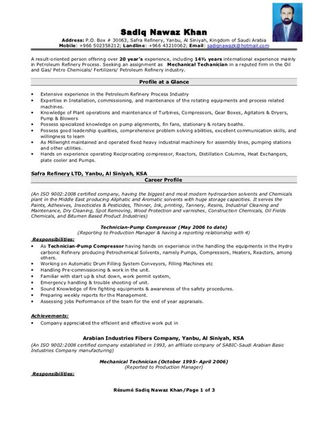 mechanical engineer resume format 2015 mechanical technician resume resume format