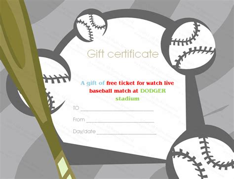 Baseball Tickets Gift Certificate Template