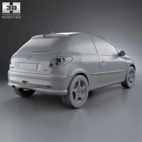 peugeot hatchback models peugeot 206 hatchback 3 door 2005 3d model humster3d