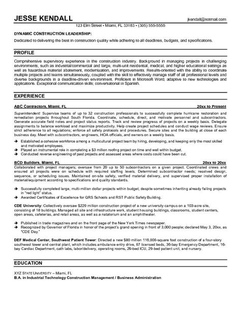 Resume Template For Construction by Construction Superintendent Resume Jvwithmenow