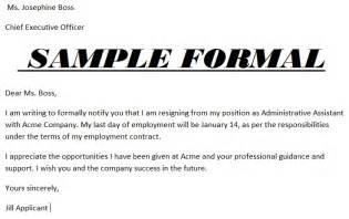 Resignation Letter Exles Formal by Sles Of Resignation Letters