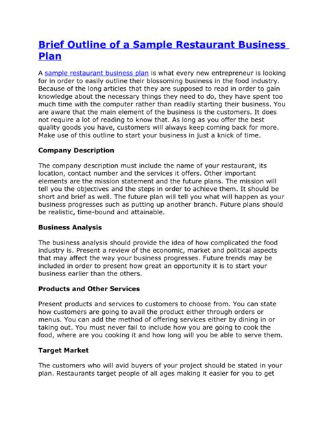 free business plan template for restaurant free bakery business plan pdf best agenda templates