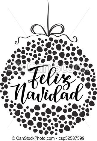 feliz navidad spanish typography lettering holiday  spanish quote isolated  white